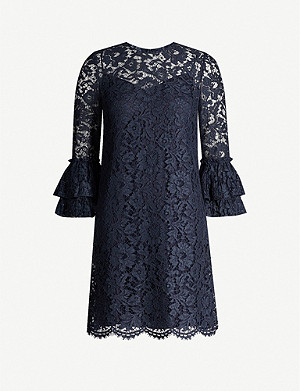 VALENTINO Flared-cuffs lace mini dress