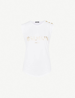 BALMAIN Metallic logo-print cotton top