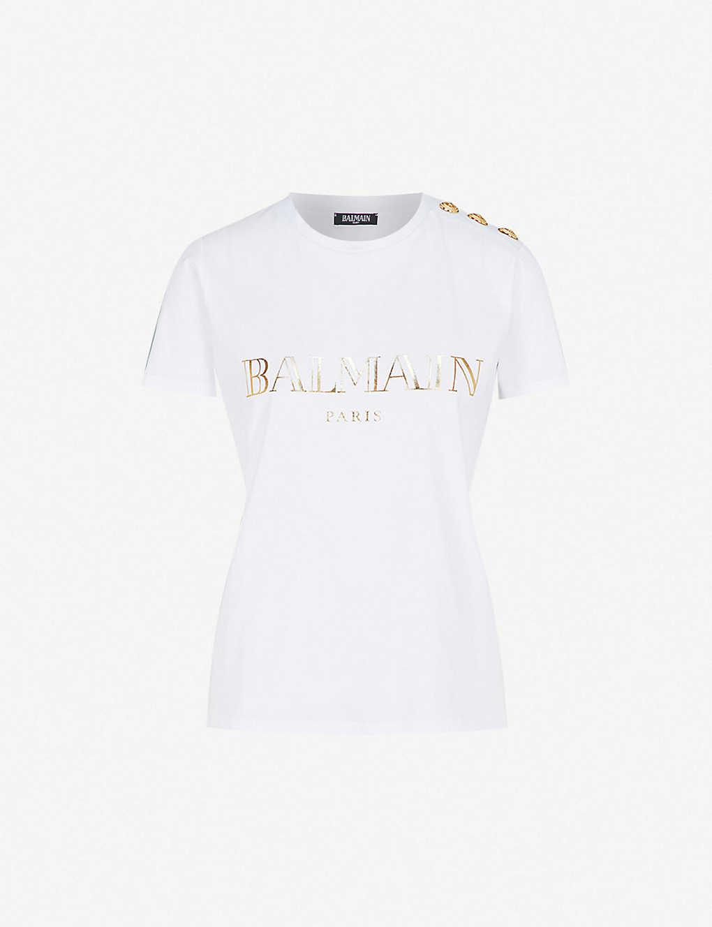 f65800be0 BALMAIN - Metallic logo-print cotton-jersey T-shirt | Selfridges.com