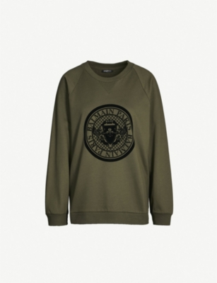 BALMAIN Logo crest-embroidered cotton-blend sweatshirt