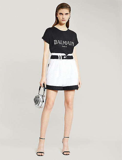 BALMAIN Contrast-trim tweed shorts
