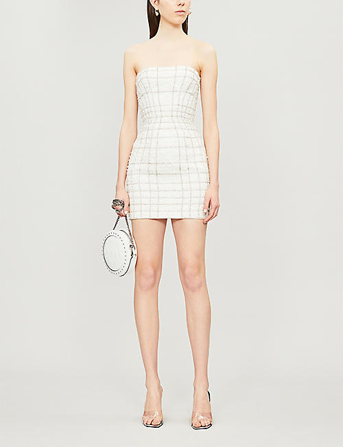 BALMAIN Diamanté-embellished tweed mini dress