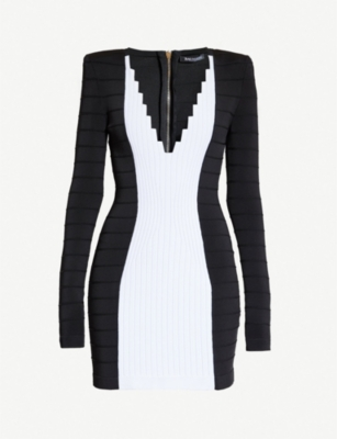 BALMAIN Contrast-panel stretch-jersey dress