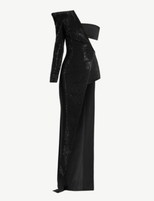BALMAIN One-shoulder sequin dress