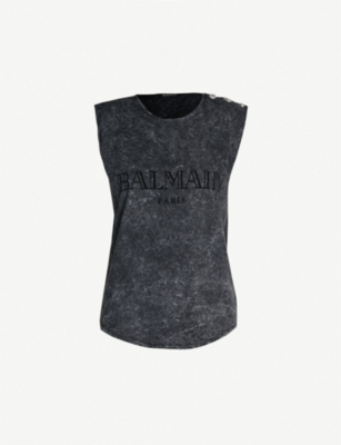 BALMAIN Buttoned-shoulder faded cotton-jersey top