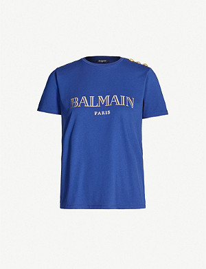 BALMAIN Metallic logo-print cotton-jersey top