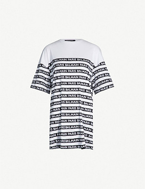 BALMAIN Oversized logo-stripe cotton-jersey T-shirt