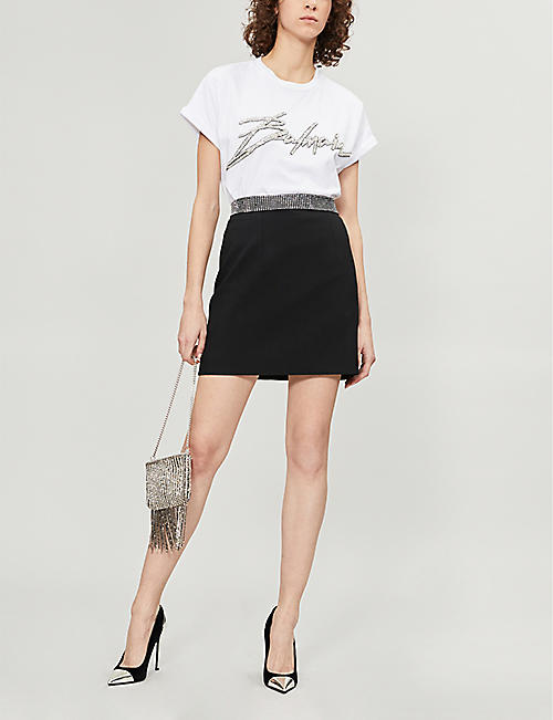 BALMAIN Embellished-logo cotton-jersey T-shirt