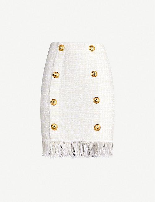 e0b67df2adb BALMAIN Fringe-trimmed bouclé skirt