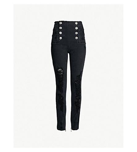 1173fdafd3a BALMAIN - Buttoned high-rise ripped skinny jeans   Selfridges.com
