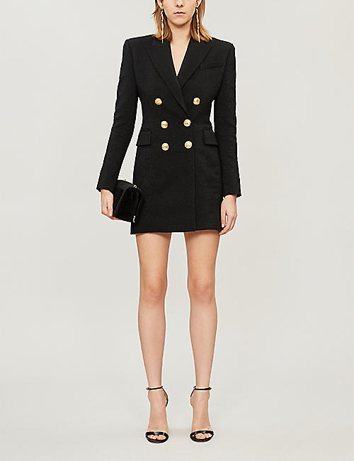 BALMAIN Textured double-breasted wool-blend dress