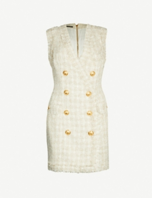 BALMAIN Double-breasted tweed dress