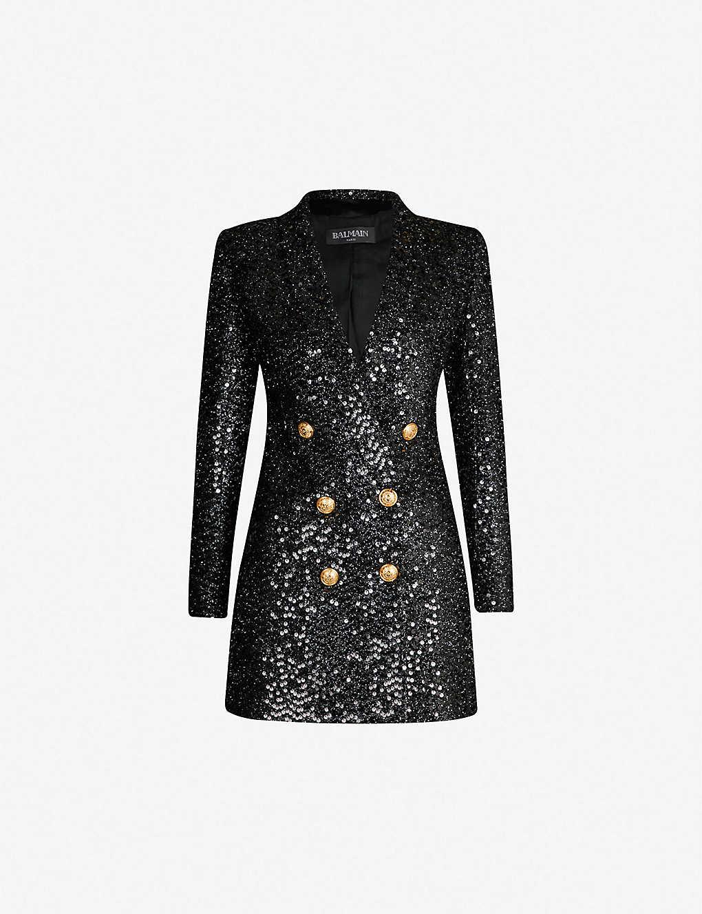 41e15b1e BALMAIN - Double-breasted longline sequinned jacket | Selfridges.comm