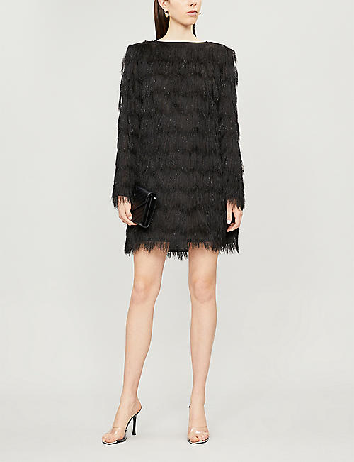BALMAIN Fringed woven mini dress