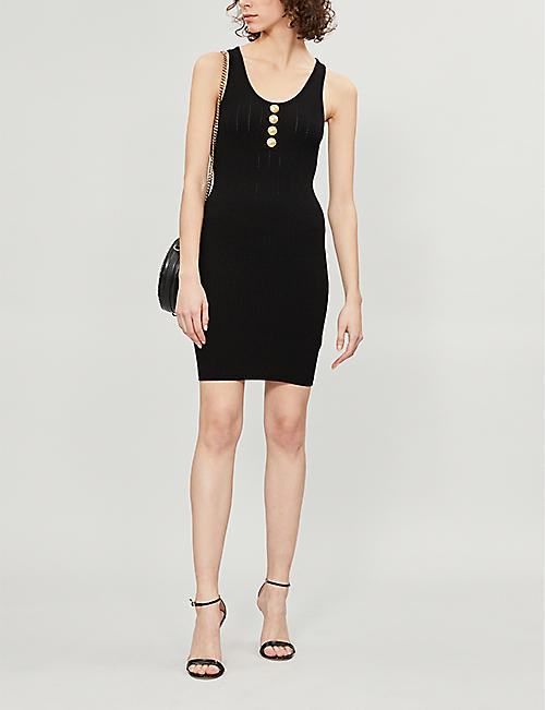 BALMAIN Buttoned stretch-knit mini dress