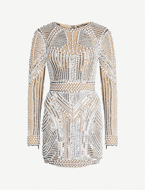433e7b99979 BALMAIN Pearlescent bead-embellished mini dress