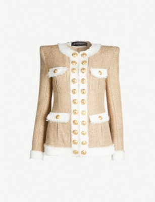 BALMAIN Contrast trim gold-buttoned tweed jacket