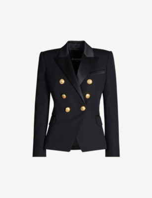 BALMAIN Satin-lapel double-breasted wool jacket