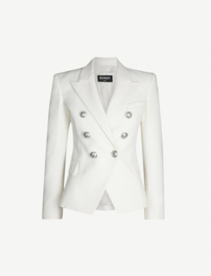 BALMAIN Textured double-breasted cotton blazer
