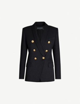 BALMAIN Double-breasted shawl-collar glittered wool-blend jacket