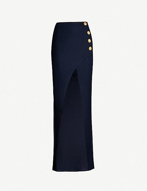 4a75bab1ff BALMAIN Ribbed side-slit woven maxi skirt