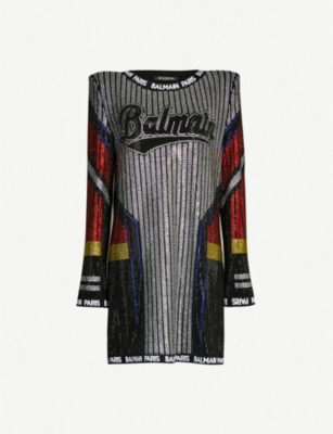 BALMAIN Embellished contrast-panel stretch-knit dress