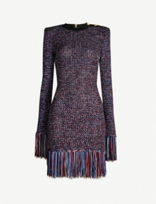 BALMAIN Fringed-trim knitted tweed dress