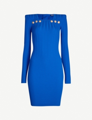 BALMAIN Button-embellished wool-blend dress