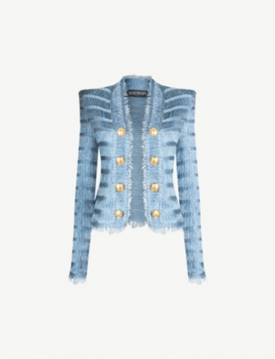 BALMAIN Double-breasted woven blazer