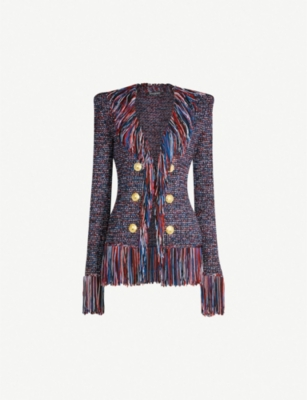 BALMAIN Fringe-trimmed tweed jacket
