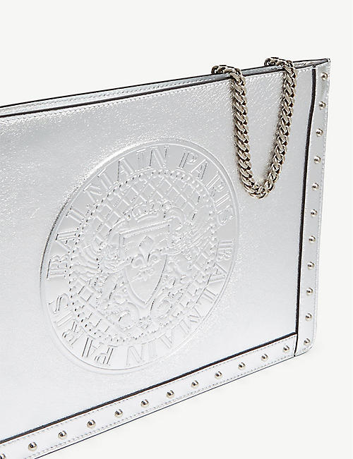 BALMAIN Logo metallic leather clutch