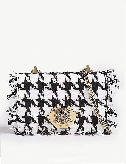 774a7ca0d4d4 BALMAIN Baby Ring Box tweed and leather cross-body bag