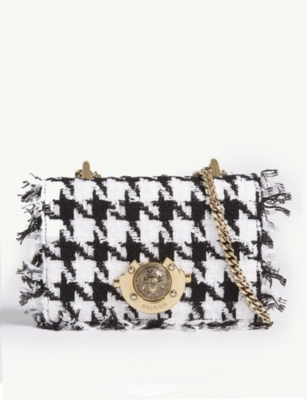 BALMAIN Baby Ring Box tweed and leather cross-body bag