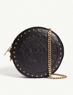BALMAIN Disco logo embossed leather cross-body bag