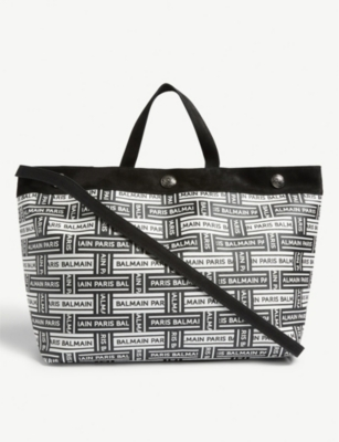 BALMAIN Woven logo leather shopper