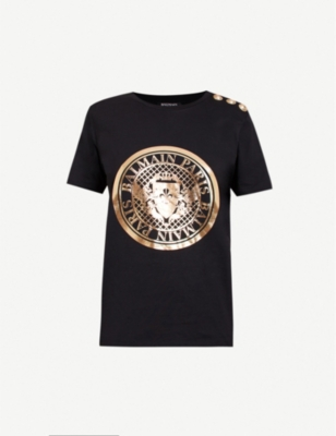 balmain womens jackets, mens clothing \u0026 more selfridgesbalmain metallic logo print cotton jersey t shirt