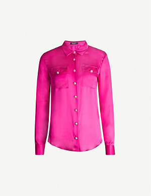 BALMAIN Button-embellished relaxed-fit silk shirt
