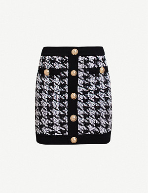 BALMAIN Houndstooth high-waist wool-blend mini skirt