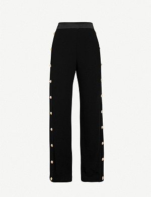 BALMAIN Buttoned straight-leg high-rise crepe trousers