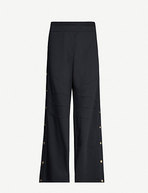 BALMAIN Branded high-rise straight-leg cotton trousers