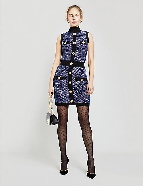d757da0300a BALMAIN High-neck buttoned tweed mini dress