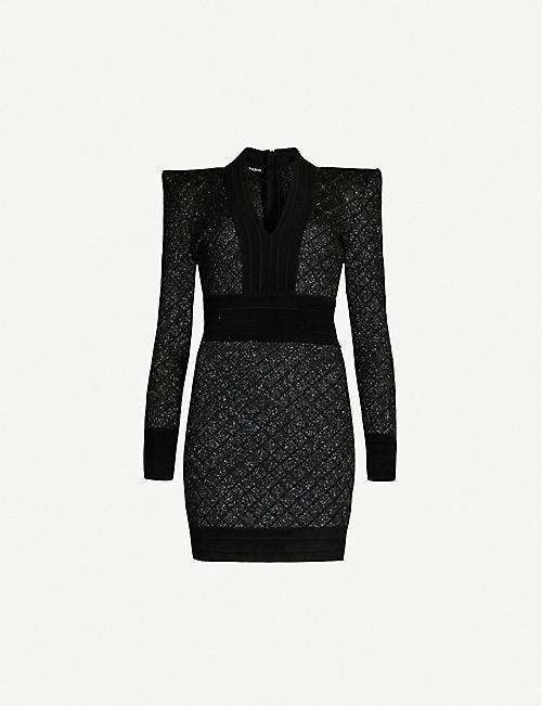 8e437870aed2 BALMAIN V-neck long-sleeved woven mini dress
