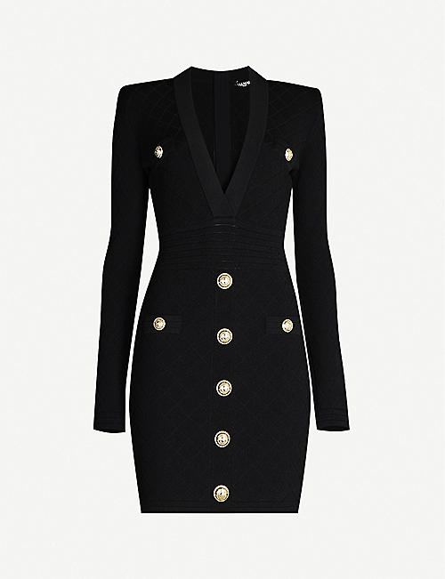 BALMAIN V-neck stretch-knit mini dress