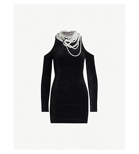 Balmain Dresses Faux-pearl and diamond embellished velvet mini dress
