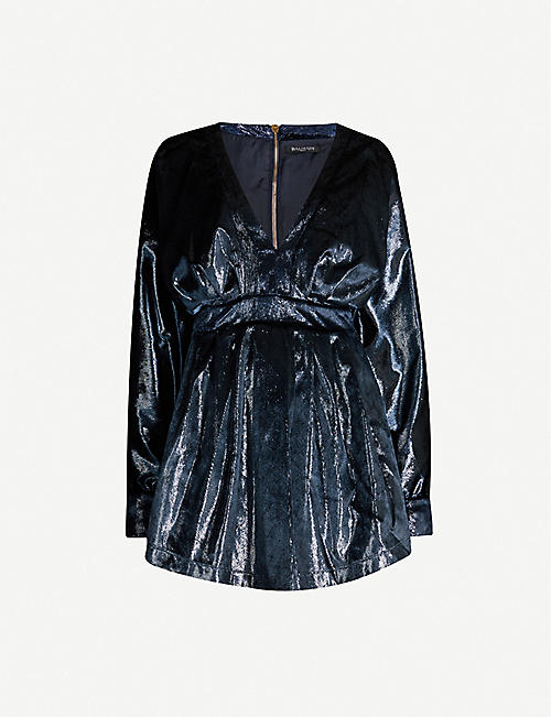 BALMAIN V-neck velvet mini dress