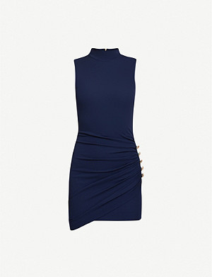 BALMAIN High-neck buttoned jersey mini dress