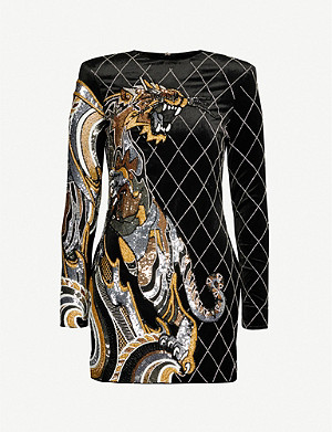 BALMAIN Tiger-embellished velvet mini dress