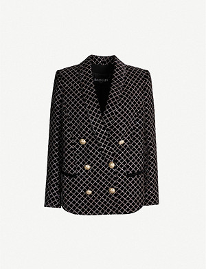 BALMAIN Double-breasted glittered checked velvet blazer