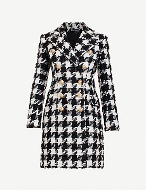 BALMAIN Double-breasted checked tweed coat