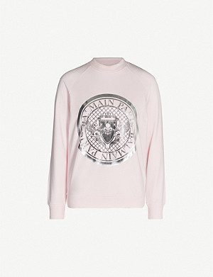 BALMAIN Metallic logo coin-print cotton-jersey sweatshirt